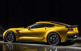 2015 Chevrolet Corvette Z06 yellow supercar side view HD wallpaper