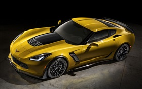 2015 Chevrolet Corvette Z06 yellow supercar HD wallpaper