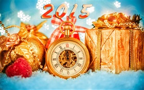 2015 New Year, clock and gifts HD wallpaper