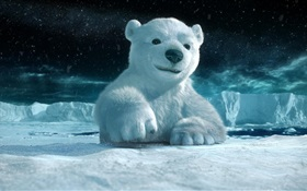 3D animal, polar bear HD wallpaper
