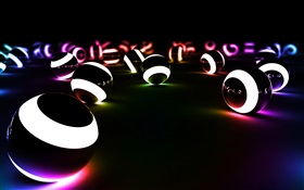 3D balls, dark white, lights HD wallpaper