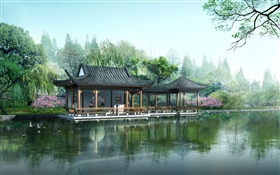 3D design, garden, gazebo, lake, lotus HD wallpaper