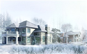 3D design, house, winter, snow HD wallpaper