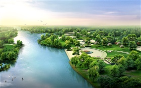 3D design, river, park, trees, birds HD wallpaper