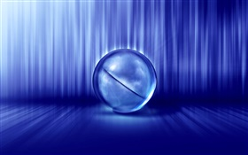 3D pictures, ball, blue style HD wallpaper