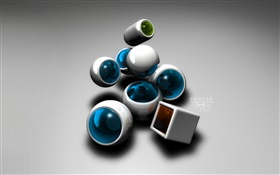 3D sphere and cube HD wallpaper