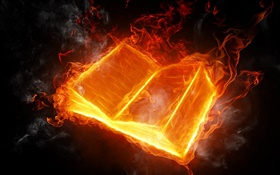 Abstract pictures, fire book burning HD wallpaper