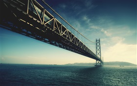 Akashi Kaikyo bridge, Japan, sea HD wallpaper