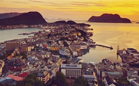 Alesund, Norway, city, houses, sunset, coast HD wallpaper