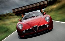 Alfa Romeo red car HD wallpaper