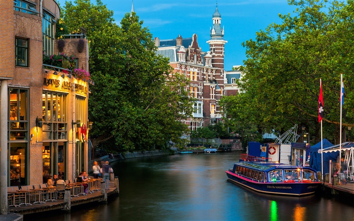 Amsterdam, Nederland, city, houses, river Wallpapers Pictures Photos Images