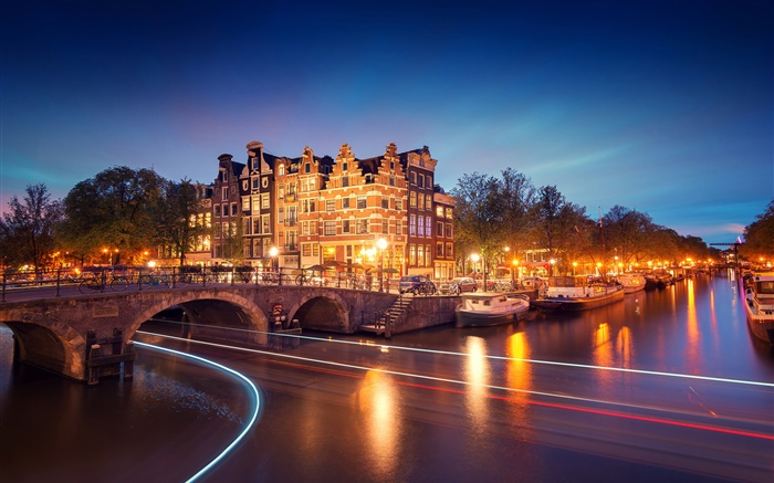 Amsterdam, Nederland, night, houses, bridge, river, lights, boats Wallpapers Pictures Photos Images