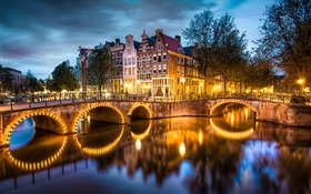 Amsterdam, Nederland, night, lights, river, bridge, houses HD wallpaper