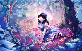 Anime girl in the fairy forest