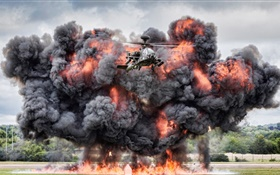 Apache helicopter AH-64, fight, explosion HD wallpaper