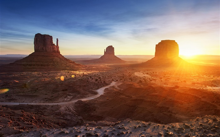 Arizona, Monument Valley, USA, sunset, mountains, desert Wallpapers Pictures Photos Images