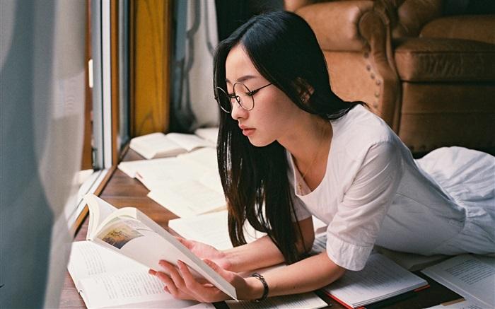 Asian Girl Reading Book Hd Wallpapers Girls Desktop