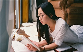 Asian girl reading book HD wallpaper
