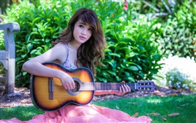 Asian music girl, guitar HD wallpaper