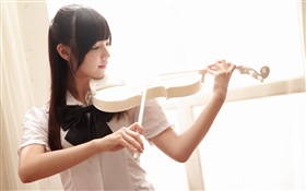 Asian music girl, violin HD wallpaper