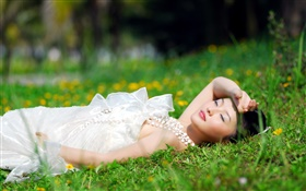 Asian white dress girl lying grass HD wallpaper