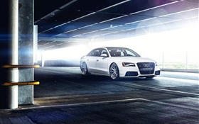 Audi A8 L white car HD wallpaper