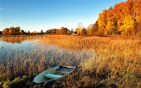 Autumn, lake, grass, boat, trees, house HD wallpaper