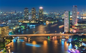 Bangkok, Thailand, buildings, river, bridge, night, lights HD wallpaper