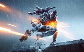 Battlefield 4, soldier in rain HD wallpaper