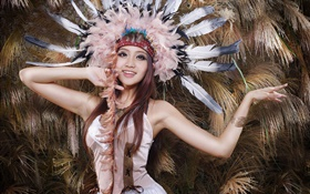 Beautiful asian girl, feathers hat HD wallpaper