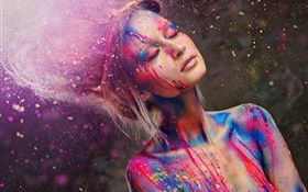 Beautiful fashion girl, colorful, paint, creative HD wallpaper
