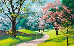 Beautiful painting, spring, road, trees, grass, flowers HD wallpaper