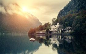 Beautiful scenery, morning, mountain, lake, house, swans, sunrise HD wallpaper