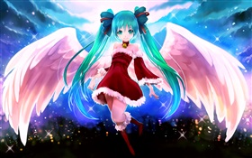 Blue hair anime girl, angel, wings HD wallpaper