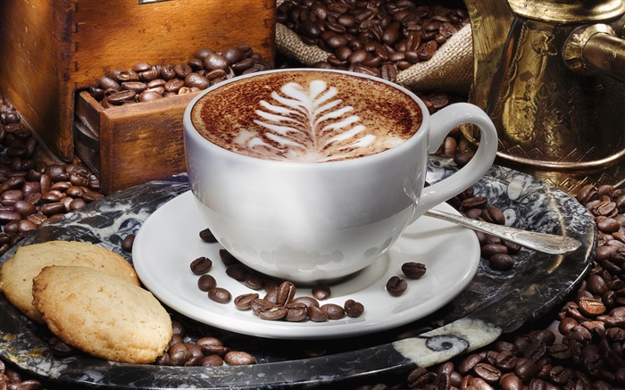 Cappuccino coffee, cup, saucer, biscuits Wallpapers Pictures Photos Images