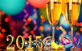 Celebrate the New Year of 2015, champagne glasses HD wallpaper