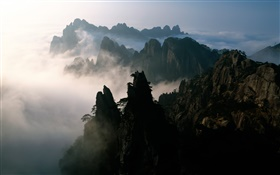 China, mountains, fog, dawn HD wallpaper