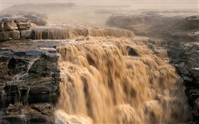 Chinese scenery, Yellow River, waterfalls HD wallpaper