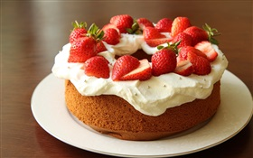 Chocolate strawberry cream cake HD wallpaper