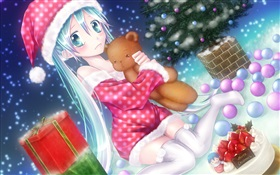 Christmas anime girl HD wallpaper