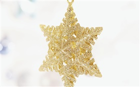 Christmas decoration, golden snowflakes HD wallpaper