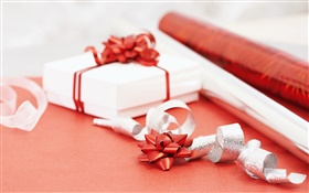 Christmas gift with ribbon HD wallpaper