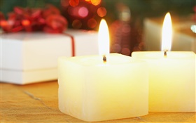 Christmas square candles close-up HD wallpaper