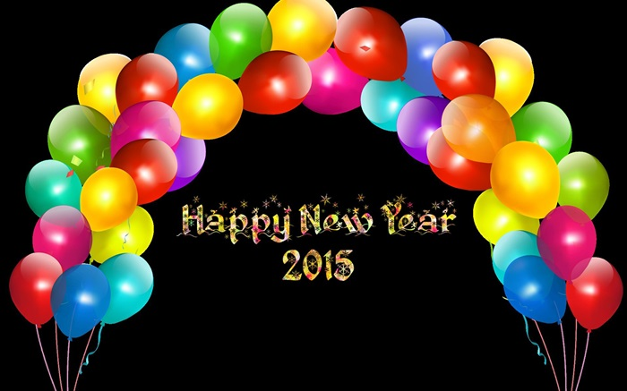 Colorful balloons, Happy New Year 2015 Wallpapers Pictures Photos Images