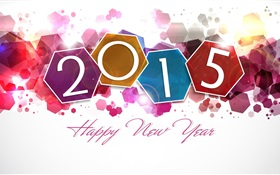Colorful hexagon, New Year 2015 HD wallpaper