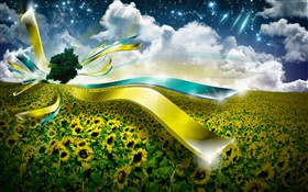 Creative design, sunflower, ribbon HD wallpaper