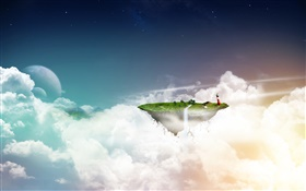 Creative images, aerial floating island, clouds HD wallpaper