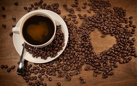 Cup of coffee, coffee beans, love heart-shaped HD wallpaper