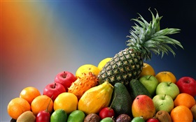 Delicious fruits, apples, oranges and pineapple