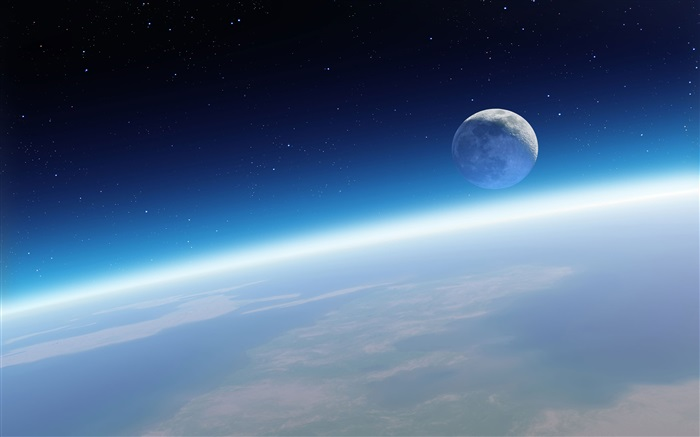 Earth and moon, beautiful space Wallpapers Pictures Photos Images